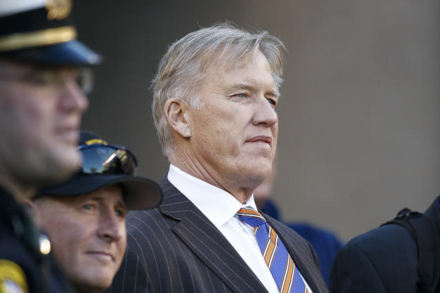 John Elway will try to fix his quarterback problem by trading for Joe Flacco. (AP)