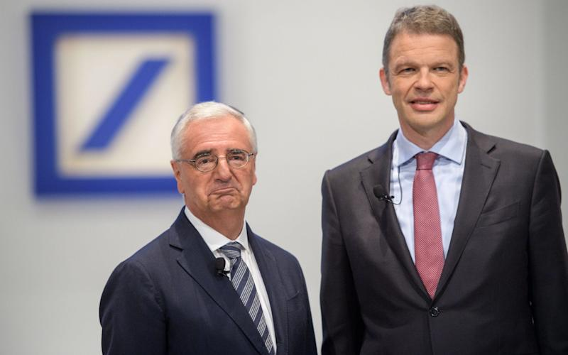 Deutsche Bank chairman Paul Achleitner and chief executive Christian Sewing faced tough investor questions at the bank's AGM today - Getty Images Europe