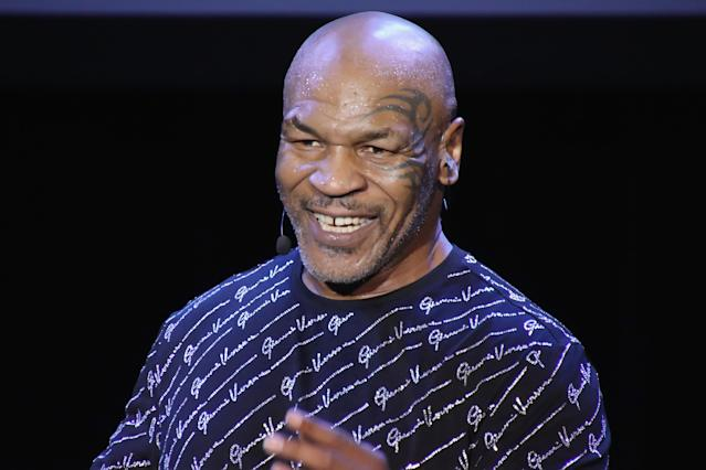 """ATLANTIC CITY, NJ - MARCH 06: Mike Tyson performs his one man show """"Undisputed Truth"""" in the Music Box at the Borgata on March 6, 2020 in Atlantic City, New Jersey. (Photo by Donald Kravitz/Getty Images)"""