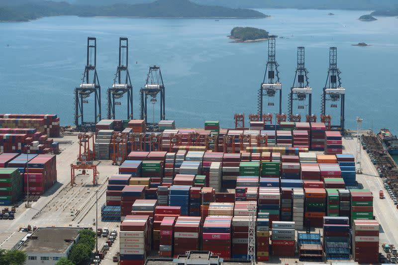 FILE PHOTO: Cranes and containers are seen at the Yantian port in Shenzhen, following the novel coronavirus disease (COVID-19) outbreak