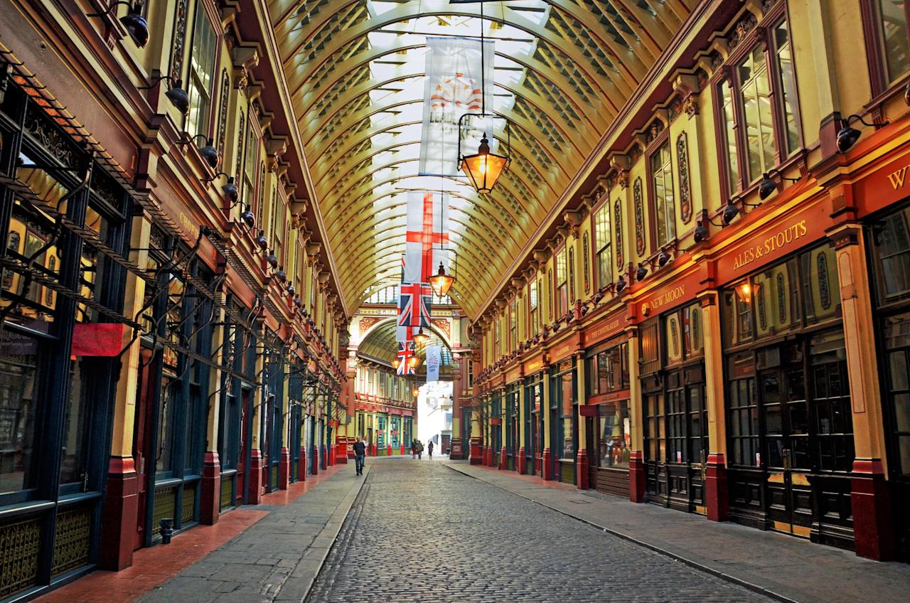 <p>Leadenhall Market in London is the inspiration for the wizarding shopping center known as Diagon Alley. It's on this bustling street that you will find the front of the Leaky Cauldron used in the Harry Potter films.</p>