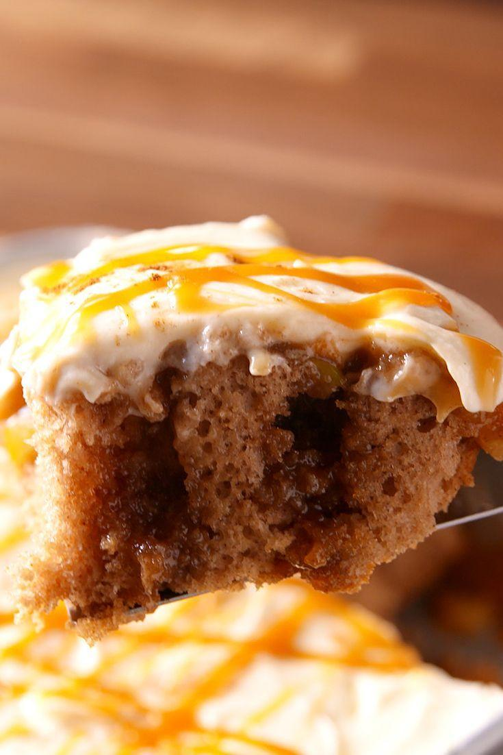 """<p>Store-bought cream cheese frosting is the perfect shortcut for this fall cake.</p><p>Get the recipe from <a href=""""https://www.delish.com/cooking/recipe-ideas/recipes/a49621/caramel-apple-poke-cake-recipe/"""" rel=""""nofollow noopener"""" target=""""_blank"""" data-ylk=""""slk:Delish"""" class=""""link rapid-noclick-resp"""">Delish</a>.</p>"""