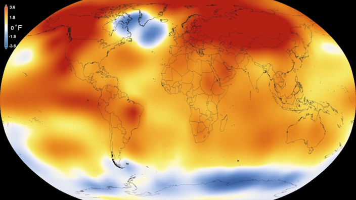 Almost all of the globe is warming except for a cold blob in the North Atlantic. / Credit: NASA