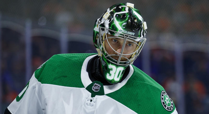 Dallas Stars' Ben Bishop looks on during the second period of an NHL hockey game against the Philadelphia Flyers, Saturday, Oct. 19, 2019, in Philadelphia. The Stars won 4-1. (AP Photo/Chris Szagola)