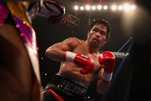 Manny Pacquiao battered Adrien Broner in Las Vegas in January in a lopsided bout, winning easily (AFP Photo/Christian Petersen)