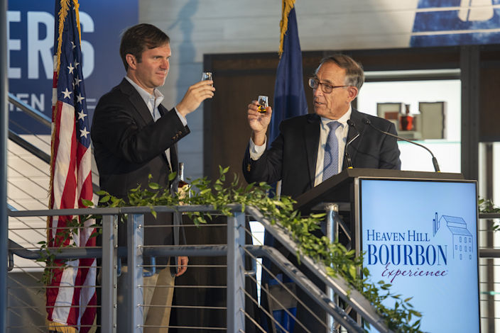 Kentucky Gov. Andy Beshear joined Heaven Hill president Max Shapira on June 14 to toast the new Heaven Hill Bourbon Experience in Bardstown, which officially opened on June 15 to visitors.