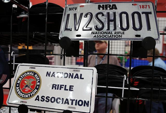 HOUSTON, TX - MAY 05: License plates are displayed in the NRA Store during the 2013 NRA Annual Meeting and Exhibits at the George R. Brown Convention Center on May 5, 2013 in Houston, Texas. More than 70,000 people attended the NRA's 3-day annual meeting that featured nearly 550 exhibitors, a gun trade show and a political rally. (Photo by Justin Sullivan/Getty Images)