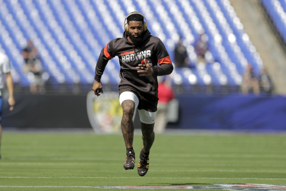 Cleveland Browns wide receiver Odell Beckham works out prior to an NFL football game against the Baltimore Ravens Sunday, Sept. 29, 2019, in Baltimore. (AP Photo/Julio Cortez)