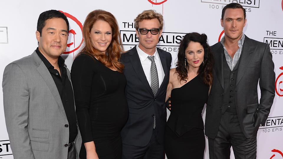 "LOS ANGELES, CA - OCTOBER 13:  Actors Tim Kang, Amanda Righetti, Simon Baker, Robin Tunney, and Owain Yeoman attend the CBS 100 episode celebration of ""The Mentalist"" held at The Edison on October 13, 2012 in Los Angeles, California."
