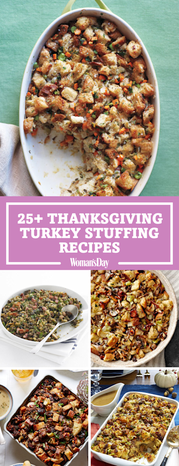 """<p>Save these great Thanksgiving turkey stuffing recipes for later! Don't forget to <a rel=""""nofollow"""" href=""""https://www.pinterest.com/womansday/"""">follow Woman's Day on Pinterest</a> for more Thanksgiving recipes. <span></span></p>"""