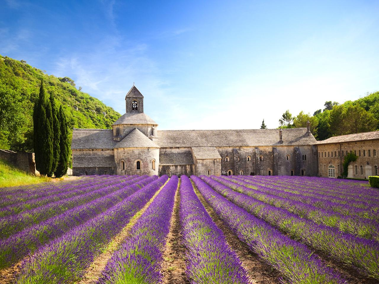 """The seemingly endless <a href=""""https://www.cntraveler.com/gallery/where-to-go-for-frances-most-spectacular-lavender-fields-castles-and-mountains?mbid=synd_yahoo_rss"""" target=""""_blank"""">stretches of lavender</a> make Provence one of the prettiest (and best-smelling) places in France. One of the most scenic spots to enjoy the flower fields is Sénanque Abbey, a 12th-century church near the village of Gordes. The gentle heather-gray color of the abbey looks custom-made for its surroundings, particularly in June and July when the acres around it bloom into a sea of purple."""