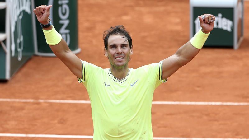 Rafael Nadal celebrating his win at the French Open.