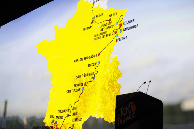 The road map is on display during the presentation of the 2019 Tour de France cycling race, in Paris, Thursday Oct. 25, 2018. The 106th edition of the race starts on July 6 2019 to end on the Champs-Elysees avenue on July 28.(AP Photo/Thibault Camus)