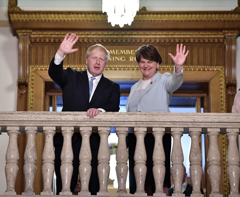 Arlene Foster stands with then-contender Boris Johnson during the Conservative Party leadership context in July 2019: Getty Images