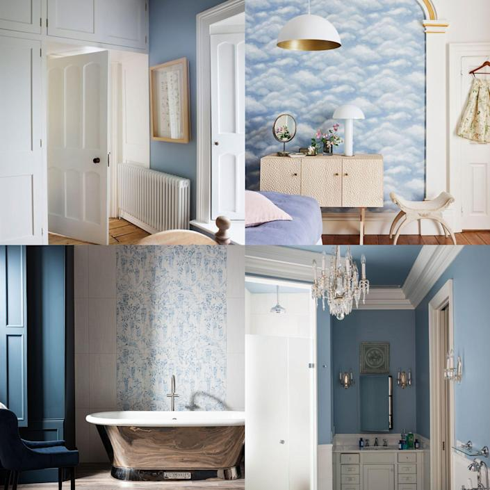 """<p>Dulux has named 'Bright Skies,' a light and airy blue, as its <a href=""""https://www.countryliving.com/uk/homes-interiors/interiors/a33948011/dulux-colour-of-the-year/"""" rel=""""nofollow noopener"""" target=""""_blank"""" data-ylk=""""slk:Colour of the Year"""" class=""""link rapid-noclick-resp"""">Colour of the Year</a> 2022. With all the challenges this year has presented, many of us have found moments of escapism in the blue sky above us, and Bright Skies taps into this spirit of optimism. </p><p>Pale blue promotes tranquility and restfulness, making it the perfect choice for a <a href=""""https://www.countryliving.com/uk/homes-interiors/interiors/a869/dream-country-bedroom/"""" rel=""""nofollow noopener"""" target=""""_blank"""" data-ylk=""""slk:bedroom"""" class=""""link rapid-noclick-resp"""">bedroom</a>, as well as offering a fresh and airy base palette in a <a href=""""https://www.countryliving.com/uk/homes-interiors/interiors/a36751438/kitchen-colours-attract-home-buyers/"""" rel=""""nofollow noopener"""" target=""""_blank"""" data-ylk=""""slk:kitchen"""" class=""""link rapid-noclick-resp"""">kitchen</a> and bathroom. For a complimentary <a href=""""https://www.countryliving.com/uk/homes-interiors/interiors/g37384959/colour-combinations/"""" rel=""""nofollow noopener"""" target=""""_blank"""" data-ylk=""""slk:colour combination"""" class=""""link rapid-noclick-resp"""">colour combination</a>, consider warming it up with cheerful rosey pinks and soft buttercup yellows.</p><p>There are myriad ways to use this light blue in your own home, from <a href=""""https://www.countryliving.com/uk/country-living-products/a36159478/country-living-wallpaper-collection-homebase/"""" rel=""""nofollow noopener"""" target=""""_blank"""" data-ylk=""""slk:wallpaper"""" class=""""link rapid-noclick-resp"""">wallpaper</a> and clever paint techniques, to bed frames, duvet covers and upholstered furniture. Read on for 13 ways to introduce this optimistic shade into your home. </p>"""