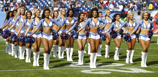 <p>Tennessee Titans cheerleaders perform before an NFL football game between the Titans and the Baltimore Ravens Sunday, Nov. 5, 2017, in Nashville, Tenn. (AP Photo/Wade Payne) </p>