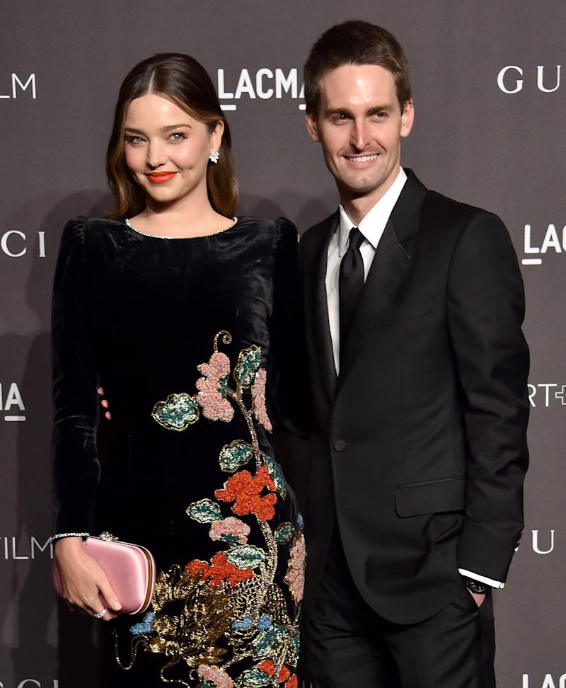 Miranda Kerr and Evan Spiegel attend the 2018 LACMA Art + Film Gala at LACMA in Los Angeles, November 2018.