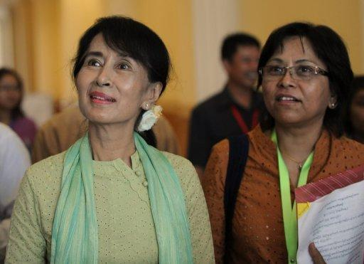Aung San Suu Kyi (L) has come to personify Myanmar's efforts to shrug off the yoke of decades of dictatorship