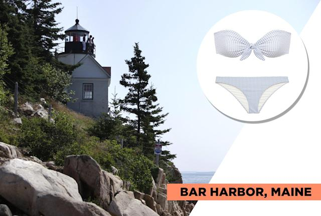 """<p>At Bar Harbor's Acadia National Park, you'll have access to water activities like sailing, kayaking, whale watching, and paddleboarding, but you'll also be able to hike and bike alongside the beautiful rocky shoreline. During the 19th century, Bar Harbor was the go-to vacation spot for high-society. Eberjey's classic gingham print pairs well with Bar Harbor's rich history. (Photo: Getty Images, Art: Quinn Lemmers for Yahoo Lifestyle)<br><br>Eberjey — Betty Lola Bikini Top, $94, <a href=""""https://www.eberjey.com/swim/bikini-tops/betty-lola-bikini-top.html"""" rel=""""nofollow noopener"""" target=""""_blank"""" data-ylk=""""slk:eberjey.com"""" class=""""link rapid-noclick-resp"""">eberjey.com</a><br> Eberjey — Betty Annia Bikini Bottom, $75, <a href=""""https://www.eberjey.com/betty-annia-bikini-bottom.html"""" rel=""""nofollow noopener"""" target=""""_blank"""" data-ylk=""""slk:eberjey.com"""" class=""""link rapid-noclick-resp"""">eberjey.com</a> </p>"""