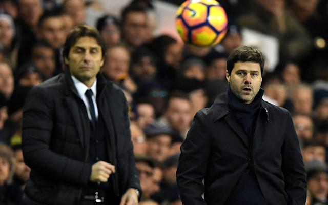 Mauricio Pochettino, right, claims that Antonio Conte's Chelsea are still favourites for Saturday's FA Cup semi-final - Copyright (c) 2017 Rex Features. No use without permission.
