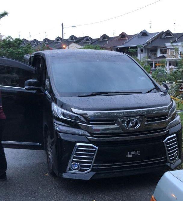 The victim was shot at point-blank range inside his black Toyota Vellfire multi-purpose vehicle in Skudai, Johor Baru today. — Picture courtesy of police source