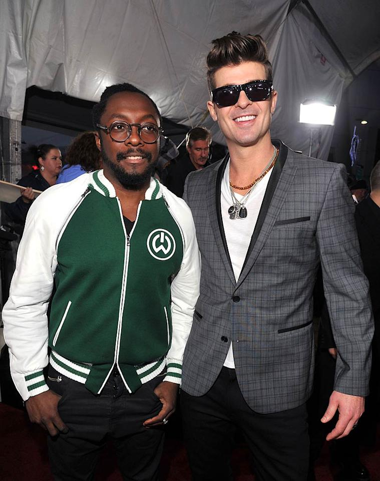 Singers will.i.am and Robin Thicke arrives at the 2011 American Music Awards held at the Nokia Theatre L.A. LIVE. (11/20/2011)