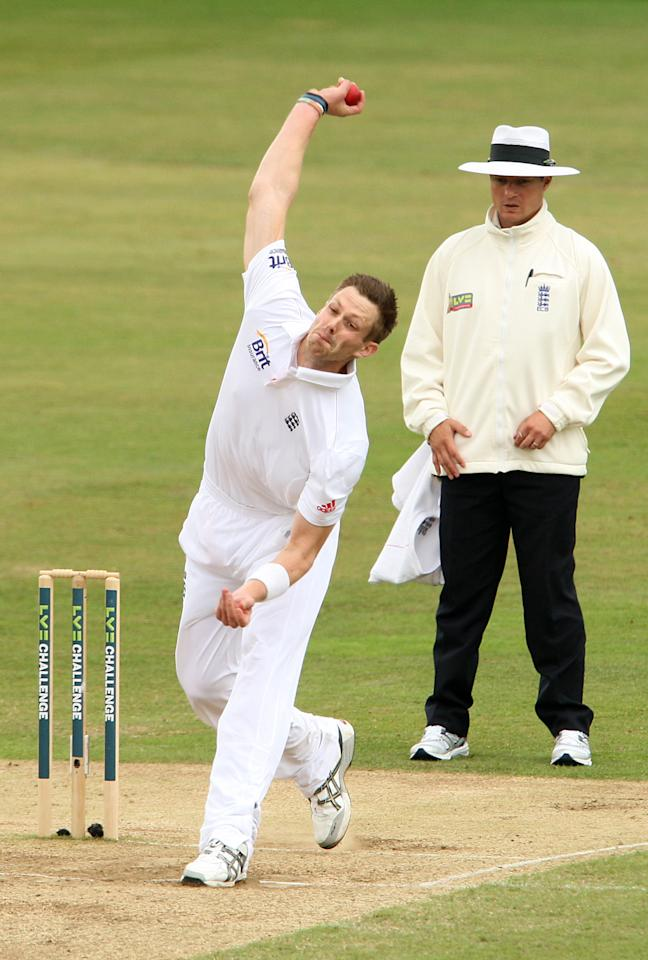 England's Boyd Rankin bowls for Essex during day four of the International Tour match at The County Ground, Chelmsford.