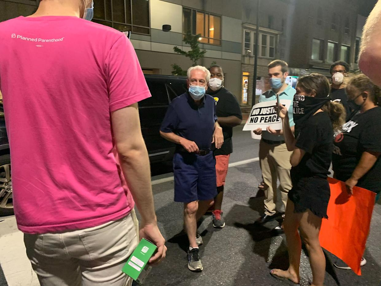 Allentown Mayor Ray O'Connell came to 10th and Hamilton Saturday night after protesters repeatedly called his cell phone.