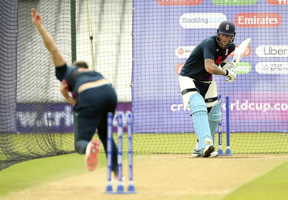 England's Ben Stokes, right, prepares to batt during a training session at The Oval, London, during the ICC Cricket World Cup, Wednesday, May 29, 2019. (Nigel French/PA via AP)