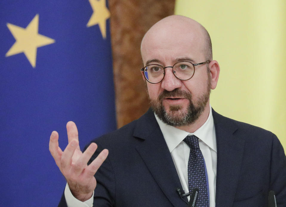 European Council President Charles Michel talks during a joint media conference with Ukrainian President Volodymyr Zelenskiy in Kyiv, Ukraine, Wednesday, March 3, 2021. (Sergiy Dolzhenko/Pool via AP)