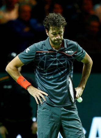 Tennis - ATP 500 - Rotterdam Open - Quarterfinal - Ahoy, Rotterdam, Netherlands - February 16, 2018 Robin Haase of the Netherlands reacts during his match against Roger Federer of Switzerland. REUTERS/Michael Kooren