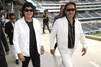 Members of the Mexican grupera band Los Bukis, Roberto Guadarrama, left, and Marco Antonio Solis attend a press conference at SoFi Stadium on Monday, June 14, 2021, in Inglewood, Calif. Twenty five years after their last show as a band, the group announced that they are reuniting for a U.S. tour. (AP Photo/Chris Pizzello)