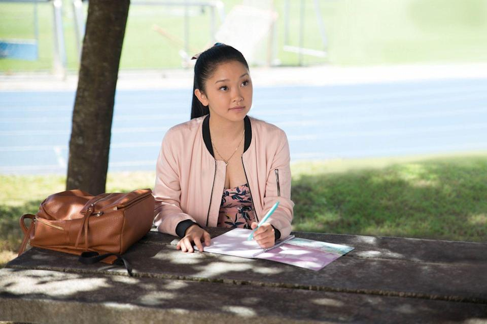 """<p>Lara Jean Song Covey (Lana Condor) is your typical lovelorn teenage girl, drafting love letters to her former crushes for her eyes only. But when the letters wind up being mailed to the former objects of her affection, her life is turned upside-down as the boys confront her about her former feelings.</p><p><a class=""""link rapid-noclick-resp"""" href=""""https://www.netflix.com/watch/80203147?trackId=13752289&tctx=0%2C1%2C80c015a1222de1e9129e7c6b5c3bb9afb9234f1d%3A04a1c06b7877fa8b66fb4d163dc5e5cbf5929d72%2C80c015a1222de1e9129e7c6b5c3bb9afb9234f1d%3A04a1c06b7877fa8b66fb4d163dc5e5cbf5929d72%2C%2C"""" rel=""""nofollow noopener"""" target=""""_blank"""" data-ylk=""""slk:Watch Now"""">Watch Now</a></p>"""