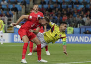 <p>Colombia's Radamel Falcao, right, falls next to England's Jordan Henderson during the round of 16 match between Colombia and England at the 2018 soccer World Cup in the Spartak Stadium, in Moscow, Russia, Tuesday, July 3, 2018. (AP Photo/Ricardo Mazalan) </p>