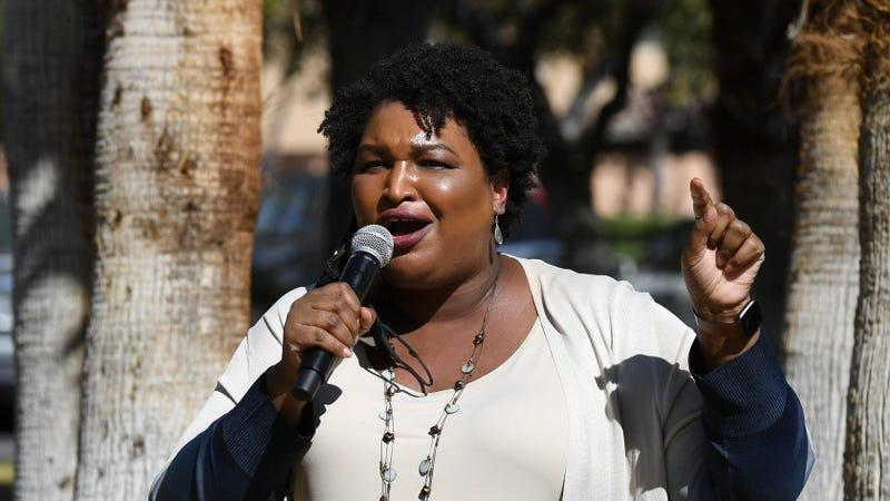 Stacey Abrams speaks at a Democratic canvass kickoff as she campaigns for Joe Biden and Kamala Harris on October 24, 2020.