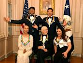 2017 Kennedy Center Honorees (seated L-R) dancer,actress and choreographer Carmen de Lavallade, TV writer Norman Lear, Cuban-American singer Gloria Estefan and (standing L-R) Rapper LL Cool J and singer and songwriter Lionel Ritchie pose for a group photo at the conclusion of a gala dinner at the U.S. State Department, in Washington, U.S., December 2, 2017. REUTERS/Mike Theiler