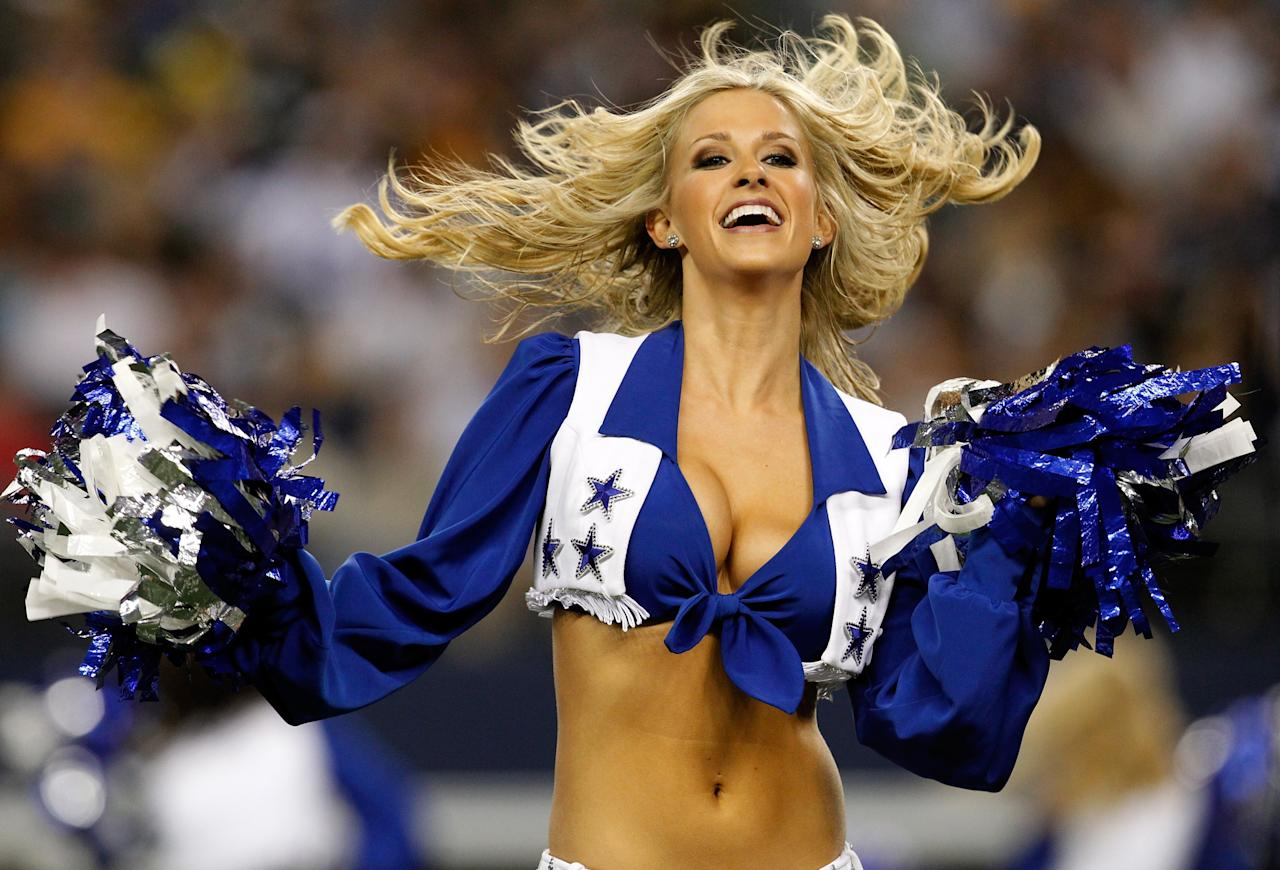 ARLINGTON, TX - DECEMBER 16:  A Dallas Cowboys Cheerleader performs as the Dallas Cowboys take on the Pittsburgh Steelers at Cowboys Stadium on December 16, 2012 in Arlington, Texas. The Dallas Cowboys beat the Pittsburgh Steelers 27-24. (Photo by Tom Pennington/Getty Images)