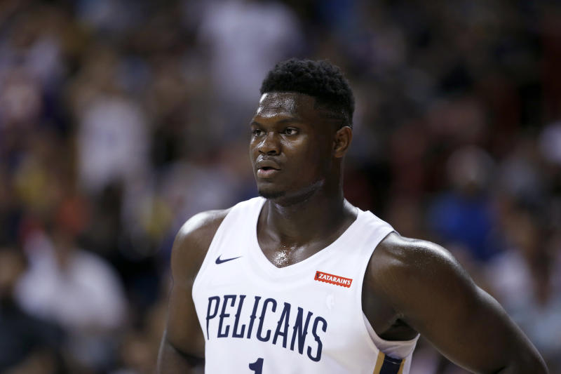 New Orleans Pelicans' Zion Williamson pauses during the team's NBA summer league basketball game against the New York Knicks on Friday, July 5, 2019, in Las Vegas. (AP Photo/Steve Marcus)