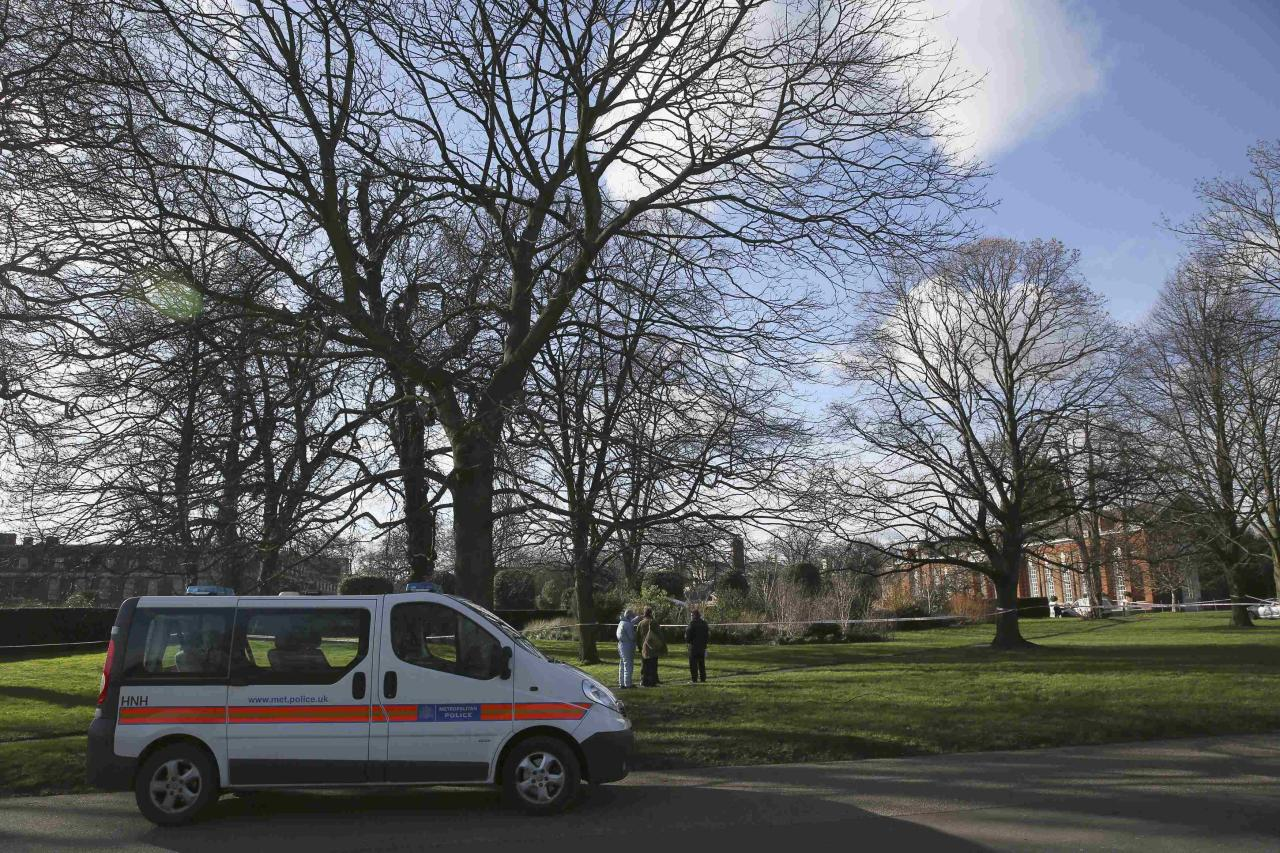 A police van is seen near the grounds of Kensington Palace in London, Britain