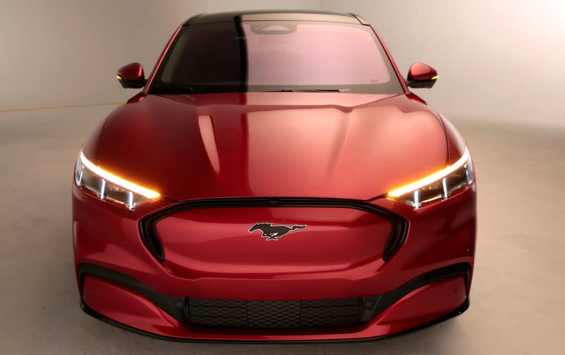 FILE PHOTO: Ford Motor Co. shows the all-new electric Mustang Mach-E vehicle for a photo shoot at a studio in Warren, Michigan