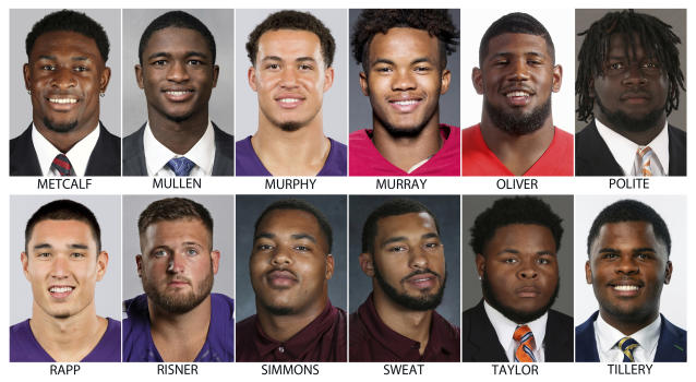 These photos provided by their respective schools shows prospects in the 2019 NFL Draft. Top row from left are: DK Metcalf, Mississippi; Trayvon Mullen, Clemson; Byron Murphy, Washington; Kyler Murray, Oklahoma; Ed Oliver, Houston and Jachai Polite, Florida. Bottom row from left are: Taylor Rapp, Washington; Dalton Risner, Kansas State; Jeffery Simmons, Mississippi State; Montez Sweat, Mississippi State; Jawaan Taylor, Florida and Jerry Tillery, Notre Dame. (AP Photo)