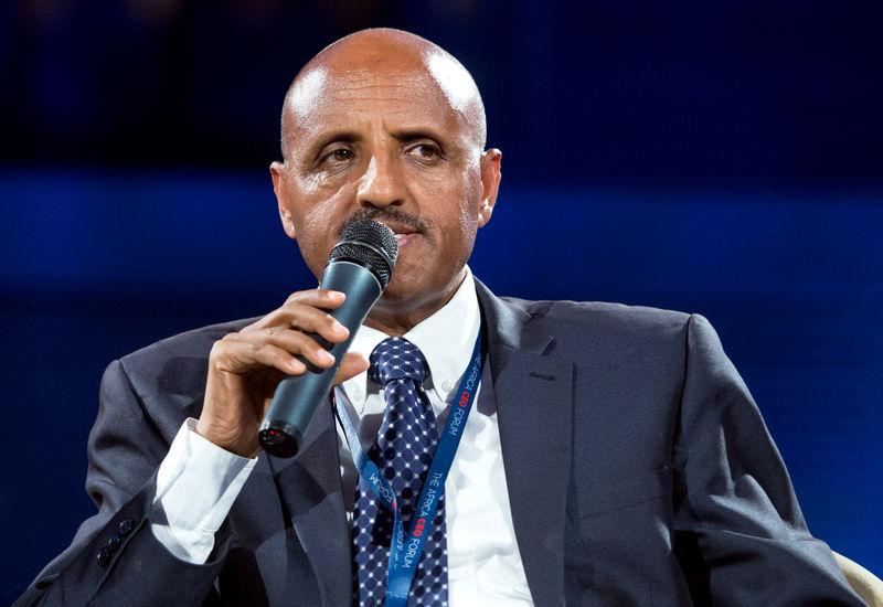 Ethiopian Airlines Chief Executive Officer Tewolde Gebremariam speaks at the Africa CEO Forum in Kigali
