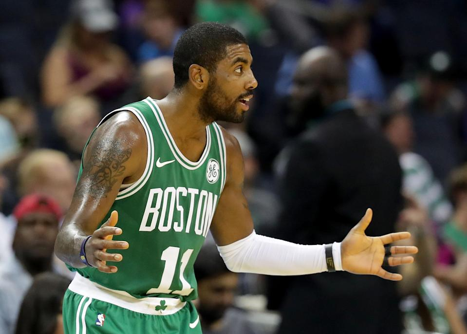 """<a class=""""link rapid-noclick-resp"""" href=""""/nba/players/4840/"""" data-ylk=""""slk:Kyrie Irving"""">Kyrie Irving</a> wonders why he hears a roar of discontent coming from Northeast Ohio. (Getty)"""
