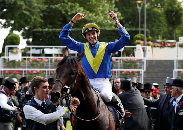 Horse Racing - Royal Ascot - Ascot Racecourse, Ascot, Britain - June 20, 2018 James Doyle on Poet's Word celebrates winning the 4.20 Prince of Wales's Stakes Action Images via Reuters/Paul Childs