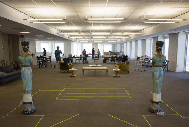 """Rehearsals for the Alley Theatre production of """"Cleo"""" happening on the 55th floor of an empty office space in downtown Houston, on Sept. 8, 2017. The lower levels of the Alley Theatre were flooded by Hurricane Harvey and are undergoing repairs. (Photo: Erich Schlegel for Yahoo News)l"""
