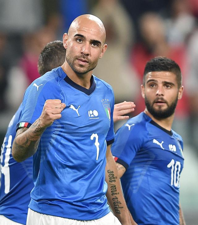 Italy's Simone Zaza celebrates with his teammate Lorenzo Insigne, right, after scoring his side's first goal during the friendly soccer match between Italy and The Netherlands at the Allianz Stadium in Turin, Italy, Monday, June 4, 2018 (Alessandro Di Marco/ANSA via AP)
