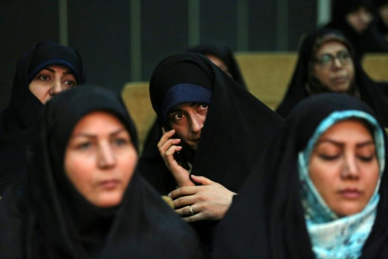 Iranian women attend a campaign meeting of Mohammad Bagher Ghalibaf, a former mayor of Tehran