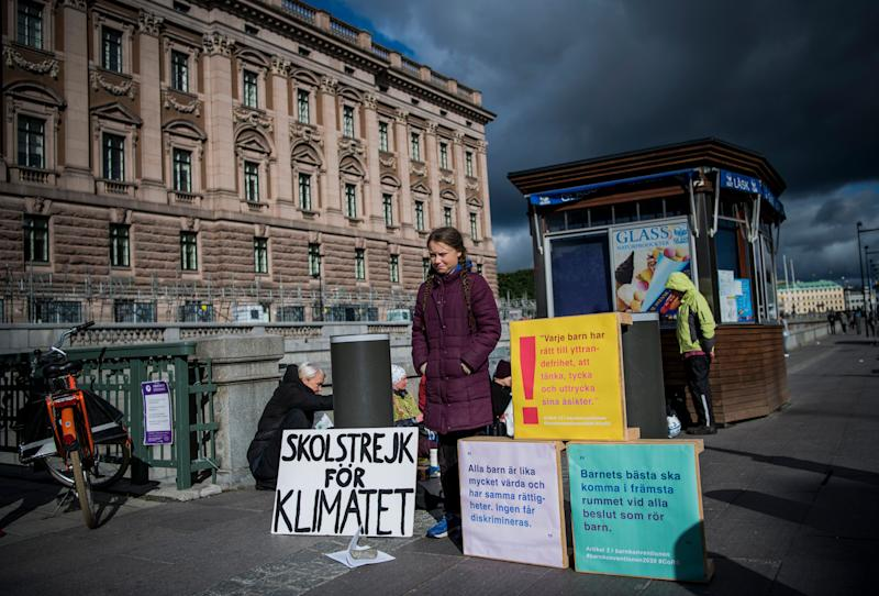 Greta Thunberg en septembre 2018 devant le parlement suédois (Photo: AFP)