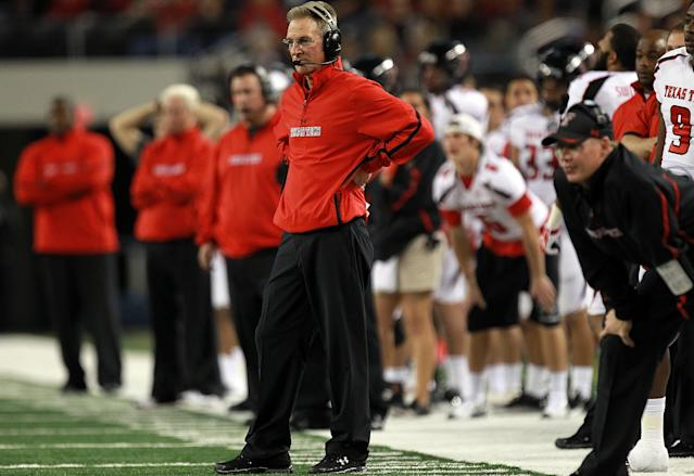 Tommy Tuberville of the Texas Tech Red Raiders at Cowboys Stadium on November 26, 2011 in Arlington, Texas. (Photo by Ronald Martinez/Getty Images)
