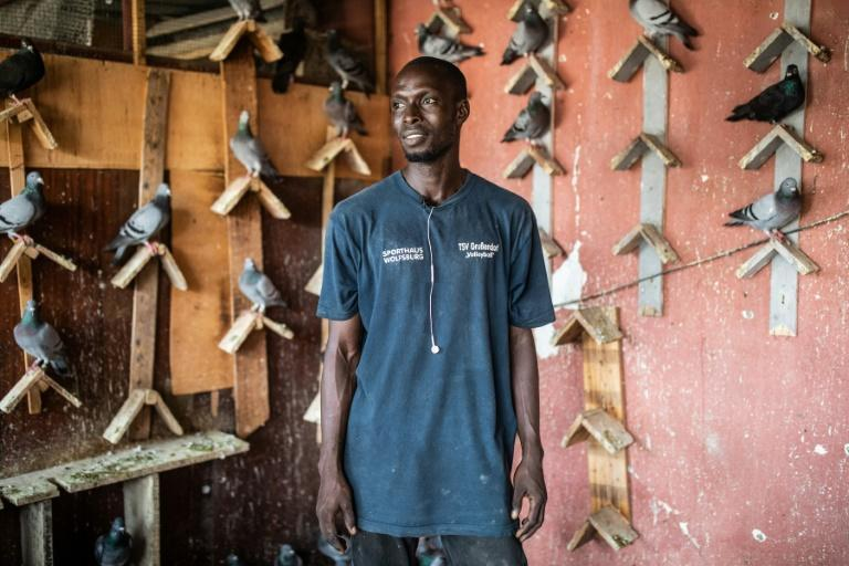 "Moustapha Gueye exercises his pigeons each morning. ""They are athletes so they need to train,"" he says"